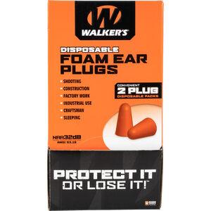 Walkers Foam Ear Plugs Counter Display -32 dB NRR 200 Total Plugs/100 Pairs Individually Bagged Orange