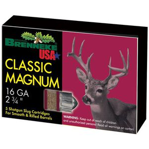 "Brenneke USA Magnum 16ga 2-3/4"" Rifled Slug 1oz 5 Rnd Box"