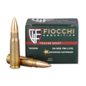 Fiocchi 7.62x39mm Ammunition 20 Rounds, FMJ, 124 Grain