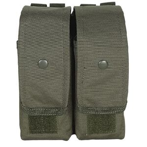 Voodoo Tactical AK47/AK74/M4/AR-15 Double Magazine Pouch Hook/Loop Flap Adjustable Snap Closure MOLLE Webbing Compatible Nylon OD Green