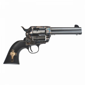 """Cimarron Holy Smoker Single Action Revolver .45 Long Colt 4.75"""" Barrel 6 Rounds Fixed Sights Color Case Hardened Frame Checkered Walnut Gold Cross Inlay Blued Finish"""