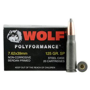 Wolf Polyformance 7.62x39mm Ammunition 125 Grain Bi-Metal Jacketed SP 20 Rounds  Steel Cased 2410 fps