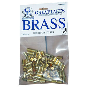 Great Lakes Firearms and Ammunition .380 ACP New Unprimed Brass 100 Pack B687337