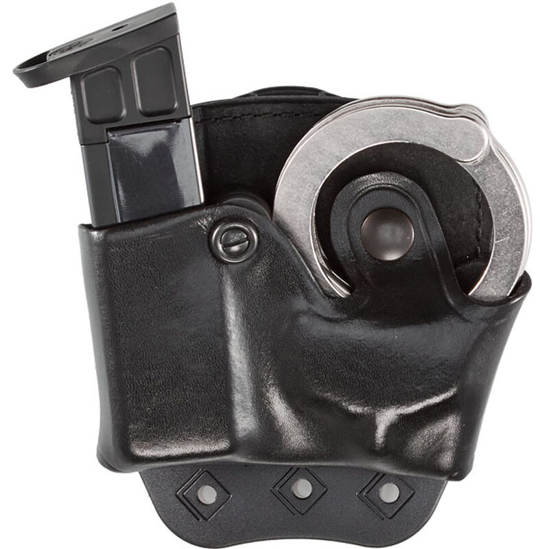Aker Leather 519 DMS Combo Combination Magazine and Standard Handcuff Case Size 03 9mm/.40 S&W Magazine Right Hand Leather Plain Black A519BPRU-3