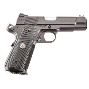 "Wilson Combat Tactical Carry Commander 1911 Semi Automatic Handgun 9mm Luger 4"" Barrel 10 Rounds Starburst G10 Grips Armor Tuff Black Finish"