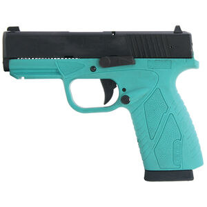 "Bersa BPCC 9mm Luger Semi Auto Pistol 3.3"" Barrel 8 Rounds Turquoise Polymer Frame Matte Black Slide Finish"