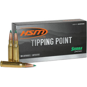 HSM Tipping Point 6.5 Creedmoor Ammunition 20 Rounds 130 Grain Sierra GameChanger Polymer Tipped HPBT