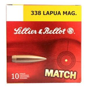 Sellier & Bellot .338 Lapua Magnum Ammunition 10 Rounds 250 Grain JBTHP 2868fps