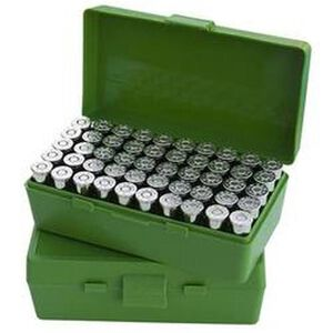 MTM Case-Gard P-50 Original Series Flip Top Handgun Ammo Box .44 Special/.44 Magnum Holds 50 Rounds Green P50-44-10