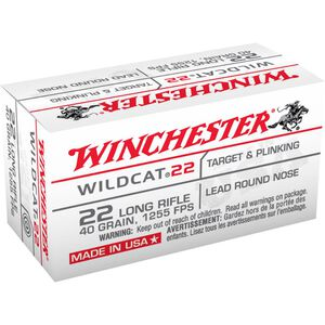 Winchester Wildcat 22 .22LR Ammunition 40 Grain LRN 1255 fps