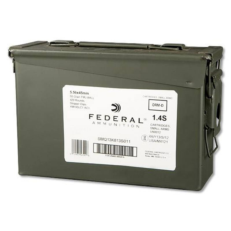 Federal Lake City 5.56 NATO Ammunition 420 Rounds FMJBT 55 Grains On Stripper Clips XM193LC1AC1