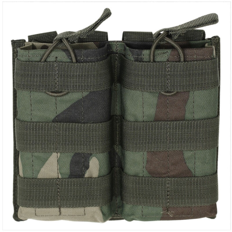 Voodoo Tactical AR-15/M4/M16 Open Top Double Magazine Pouch Bungee Retention System PALS Webbing Compatible Nylon Woodland Camo