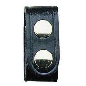 "Bianchi Model 33 Belt Keepers 1"" Wide Chrome Snaps Leather Plain Black 4 Pack"
