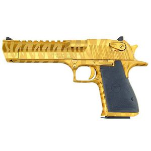 "Magnum Research Desert Eagle Mark XIX Semi Auto Pistol .44 Remington Magnum 6"" Barrel 8 Rounds Fixed Combat Sights Weaver Accessory Rail Titanium Gold Tiger Stripes"