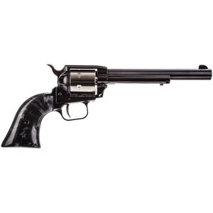 """Heritage Rough Rider .22 LR Single Action Rimfire Revolver 6.5"""" Barrel 6 Rounds Synthetic Black Pearl Grips Two Tone Stainless/Black Finish"""