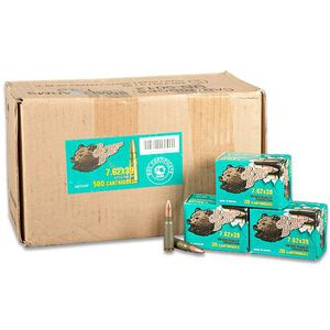 Brown Bear 7.62x39mm Rifle Ammunition, 500 Rounds, HP, 123 Grains