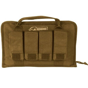 "Voodoo Tactical Pistol Case With Magazine Pouches 12"" x 9"" x 2"" Full Padding Nylon Coyote 001707000"