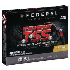 "Federal Heavyweight TSS .410 Bore Ammunition 5 Rounds 3"" #9 Tungsten Shot 13/16 Ounce 1100fps"