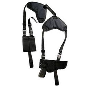 """Bulldog Cases Deluxe Horizontal Shoulder Holster Medium and Large Frame Autos with 3""""-4.5"""" Barrels Ambidextrous with Double Magazine Pouch Nylon Black WSHD7"""