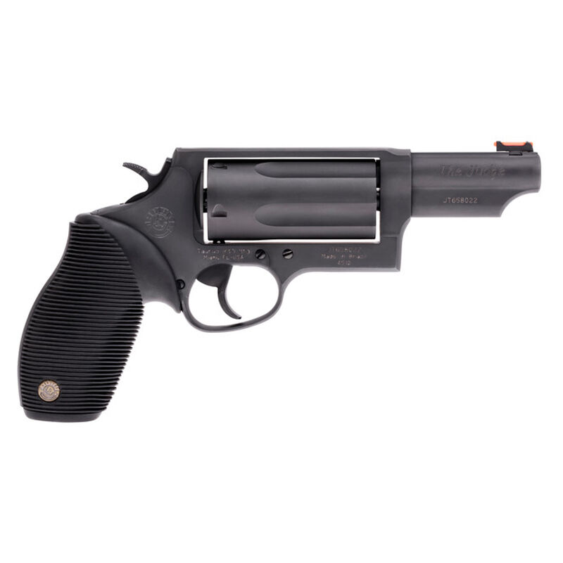"Taurus Judge Magnum Double Action Revolver .45 Long Colt/.410 Bore 3"" Chamber 3"" Barrel 5 Round Fixed Red Fiber Optic Front Sight/Fixed Rear Sight Ribbed Rubber Grip Matte Black Finish"