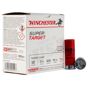 "Winchester Super-Target 12 Gauge Ammunition 25 Round Box 2-3/4"" #7.5 Lead 1oz 1200 fps"