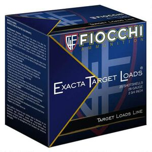 "Fiocchi Exacta Target Line 28 Gauge Ammunition 250 Rounds 2-3/4"" #9 Shot 3/4oz Lead 1200fps"
