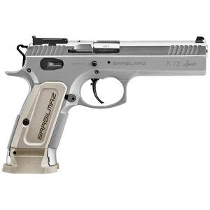 "SAR USA Sarsilmaz K12 Sport 9mm Luger Semi Auto Pistol 4.7"" Barrel 17 Rounds Adjustable Sights Alloy Steel Frame Silver"