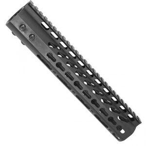 "Guntec AR-15 10"" Ultra Lightweight Thin KeyMod Free Floating Handguard with Monolithic Top Rail 7.9 oz Aluminum Black"
