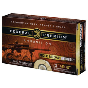 Federal Premium Gold Medal Berger 6mm Creedmoor Ammunition 20 Rounds 105 Grain Berger Hybrid OTMBT 3025 fps