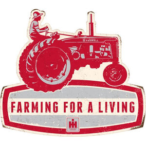 """Open Road Brands """" Farming for a Living"""" Embossed Tin Sign 15.3""""x14"""""""