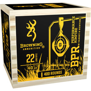 Browning BPR .22LR Ammunition 40 Grain LRN in a Wooden Box 1400 fps