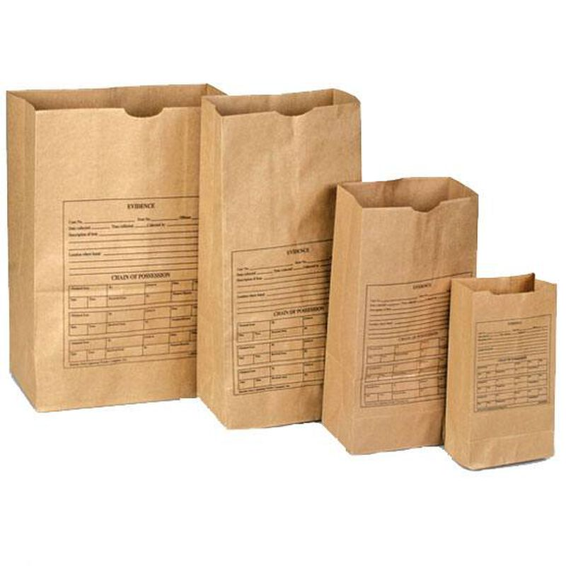 """Amor Forensics Paper Evidence Bags Bundle of 100 Style 25 8.25""""x5.25""""x18"""" 3-0023"""
