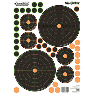 """Champion Traps & Targets VisiColor Adhesive 50 yard Sight In Target 8.5""""x11"""" Sheet with Pasters 5 Pack"""