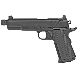 "Dan Wesson Wraith Full Size 1911 .45 ACP Semi Auto Pistol 5.75"" Threaded Barrel 8 Rounds Suppressor Height Night Sights G10 Grips Duty Black Finish"