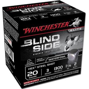 """Winchester Blind Side 20 Ga 3"""" #2 Hex Steel 250 Rounds"""