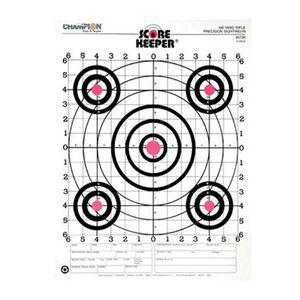 Champion Scorekeeper Precision Rifle Scorekeeper 100 Yard Target Fluorescent Orange Bull Grid Background 12 Pack 45726