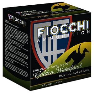 "Fiocchi Waterfowl Steel Hunting Golden Waterfowl 12 Gauge Ammunition 25 Rounds 3"" BB Shot 1-1/4oz Steel 1350fps"