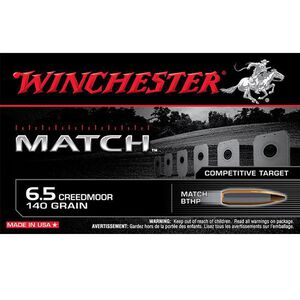 Winchester Match 6.5 Creed Ammunition 20 Rounds, BTHP, 140 Grains