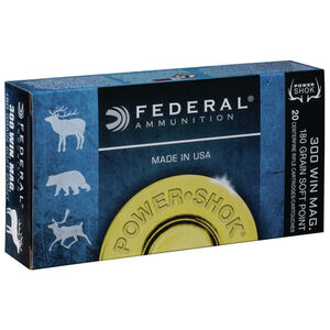 Federal Power-Shok .300 Winchester Magnum Ammunition 20 Rounds JSP 180 Grains 300WBS