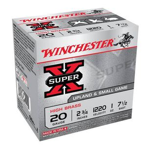 """Ammo 20 Gauge Winchester Super-X 2-3/4"""" #7.5 Lead 1 Ounce 25 Round Box 1220 fps X207"""