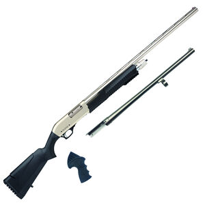"""Rock Island Armory Meriva PA 3-in 1 Combo Chrome 12 Gauge Pump Action Shotgun 28"""" Barrel Field / 18.5"""" Tactical Barrel 4 Rounds Polymer Synthetic Stock/Forend Two Tone Finish"""