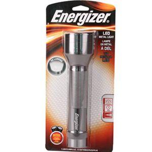 Energizer Standard Flashlight 6 LED 42 Lumen 2x D Battery Click Type Switch Aluminum Body Silver ENML2DS