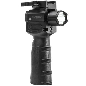 NcSTAR Vertical Grip with Strobe Flashlight and Red Laser 200 Lumens CREE LED Bulb CR 123A Battery x2 Picatinny Mount Toggle Switch Black