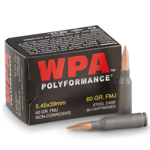 Wolf Polyformance 5.45x39 Ammunition 750 Rounds 60 Grain Full Metal Jacket Bi-Metal Jacket Steel Cased 2936fps