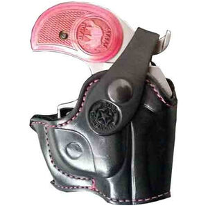 Bond Arms Defender Belt Holster Right Hand Leather Pink Stitching Black