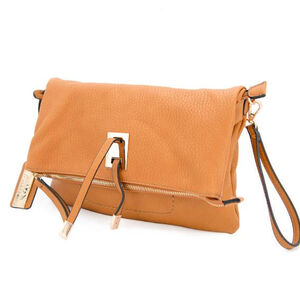 """Cameleon Aya Clutch/Crossbody Handbag with Concealed Carry Gun Compartment 13""""x8""""x3"""" Synthetic Leather Honey"""