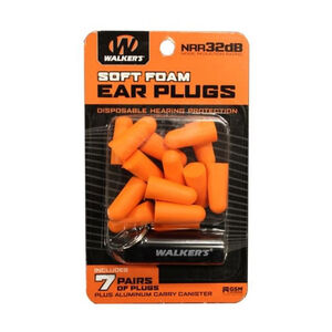 Walker's Foam Ear Plugs with Black Aluminum Carry Canister 7 Pairs Orange