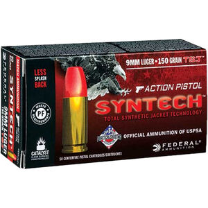 Federal 9mm Luger Ammunition 50 Rounds Syntech Total Jacket 150 Grains
