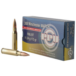 Prvi Partizan PPU Match .308 Winchester Ammunition 20 Rounds 175 Grain FMJ BT 2590fps