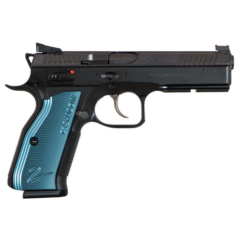 "CZ Shadow 2 Black & Blue Semi Auto Pistol 9mm Luger 4.89"" Barrel 17 Round Magazine Fiber Optic Front Sight/HAJO Rear Sight Ambidextrous Safety Steel Frame Black Finish"